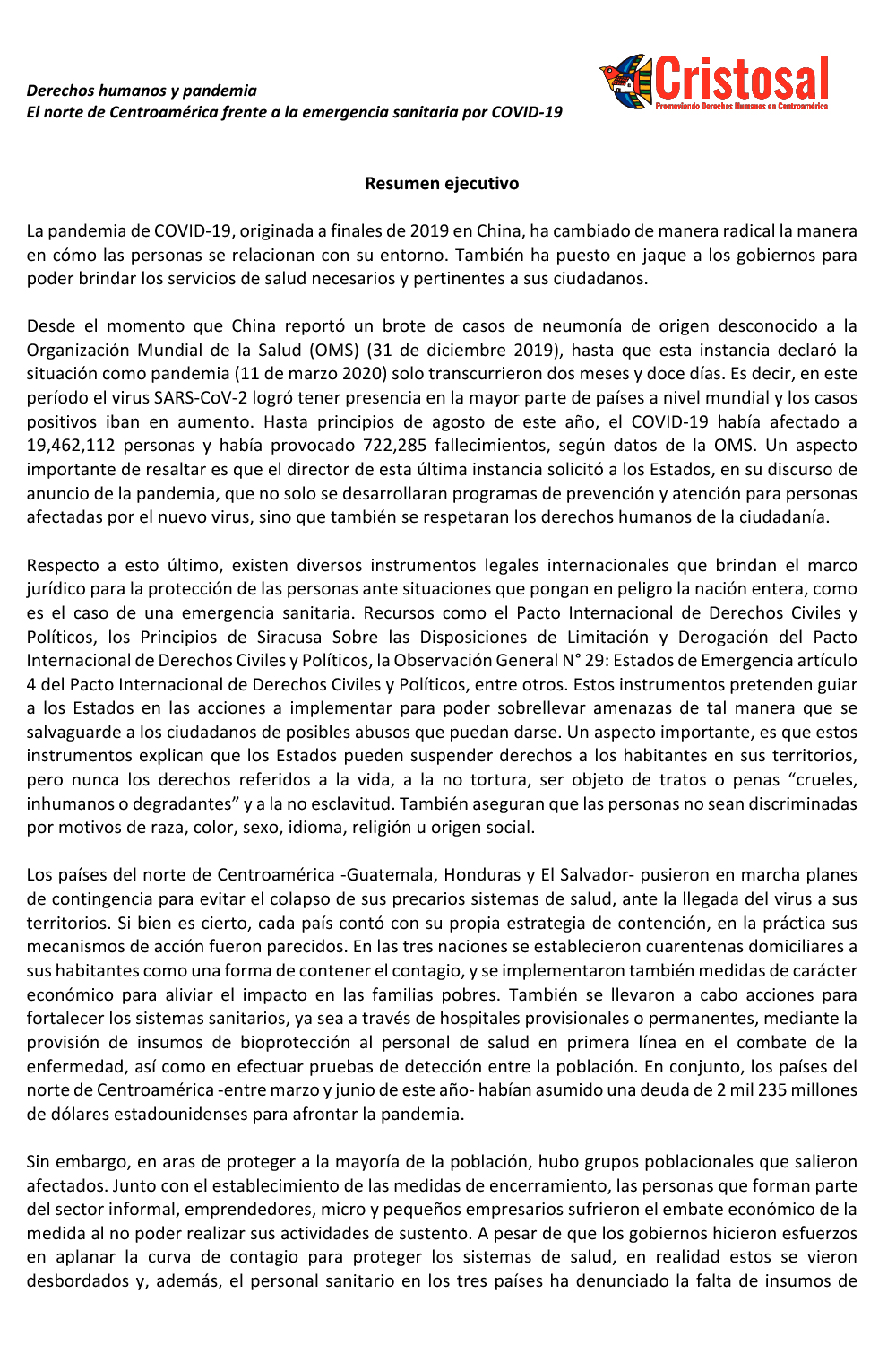 SUMMARY: HUMAN RIGHTS AND PANDEMIC (Spanish)